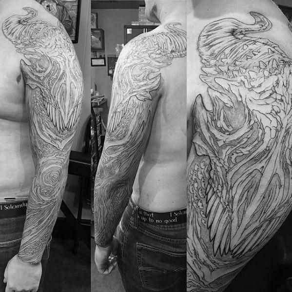 Full Arm Sleeve Themed Mens Dragon Skull Tattoo