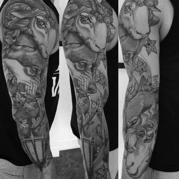 Full Arm Sleeve Themed Wolf In Sheeps Clothing Guys Tattoo Designs