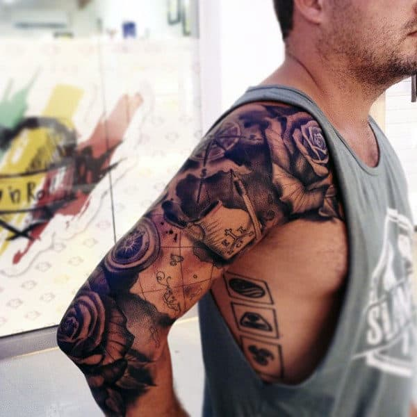 Full Arm Sleeve Travel Map With Rose Flowers Tattoos For Men