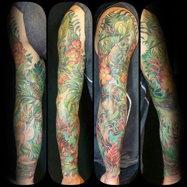 Full Arm Sleeve Tree Frog Tattoo Ideas For Males