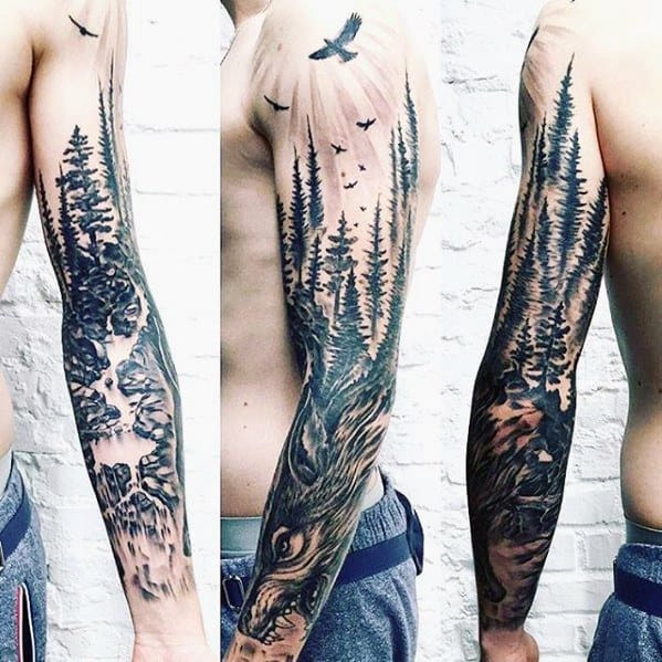 Full Arm Sleeve Trees With Wolf Guys Tattoos With River Design