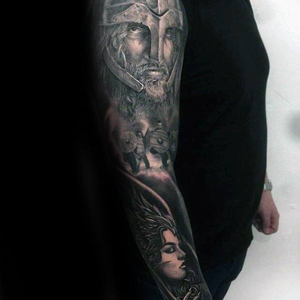 Full Arm Sleeve Valkyrie Guys Tattoo Designs