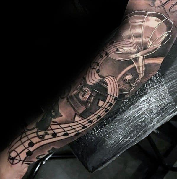 Full Arm Sleeve Vintage Record Player Guys Music Staff Tattoo Deisgns