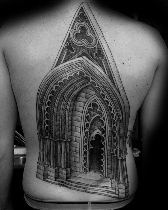 Full Back 3d Cathedral Guys Tattoo Designs