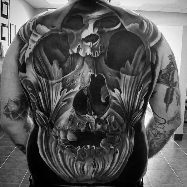 Full Back 3d Great Male Skull Ornate Tattoo Designs