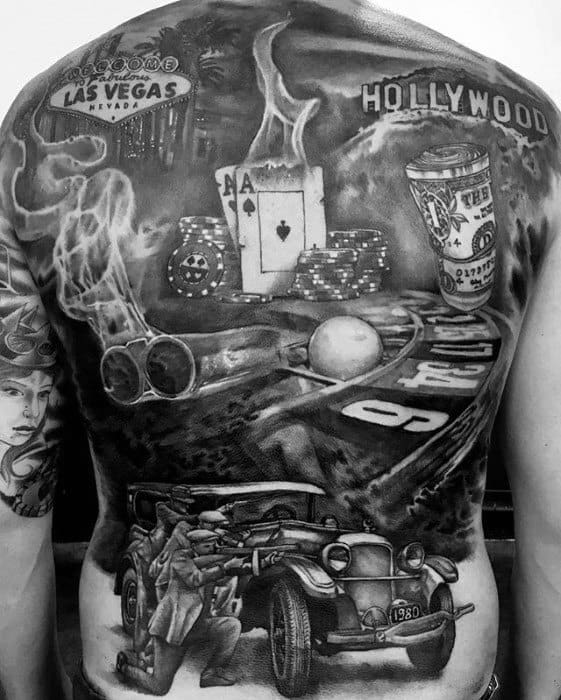 Full Back 3d Male Cool Poker Chip Tattoo Ideas