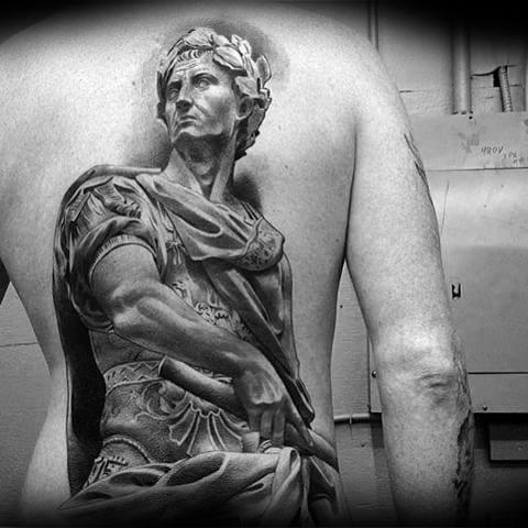Full Back 3d Manly Roman Statue Tattoo Design Ideas For Men