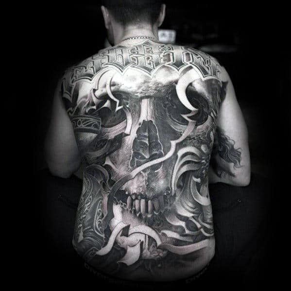 Full Back 3d Skull Ornate Guys Cool Back Tattoos