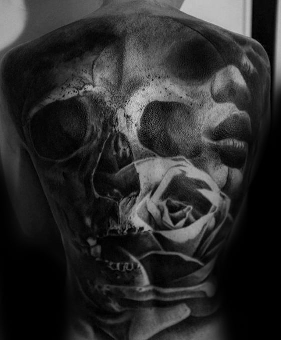 Full Back 3d Surrealism Tattoo Designs For Guys