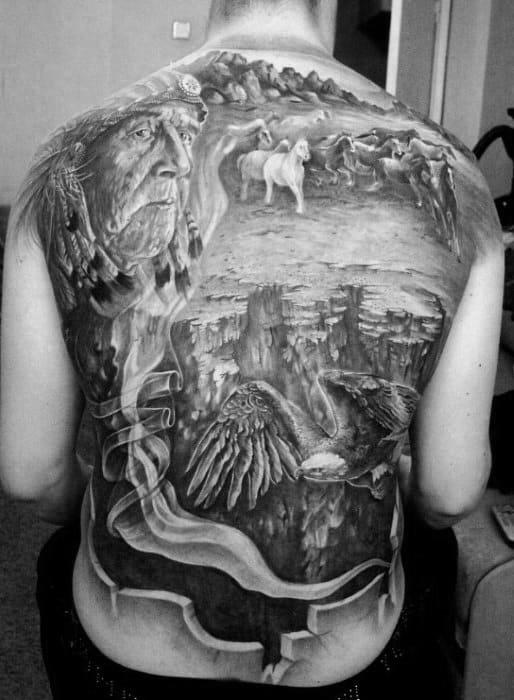 Full Back 3d Sweet Native American Themed Tattoos For Guys