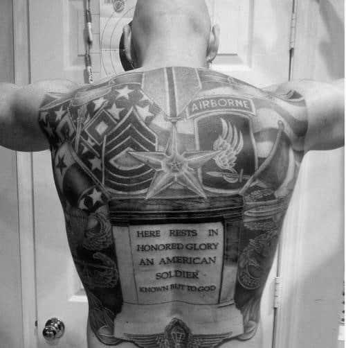 Full Back Airborne Themed Tattoos For Guys