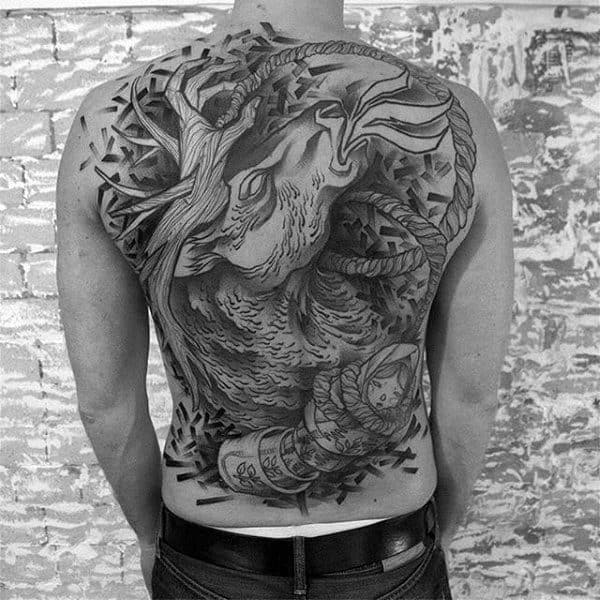 Full Back Animal Horse Tattoo On Man