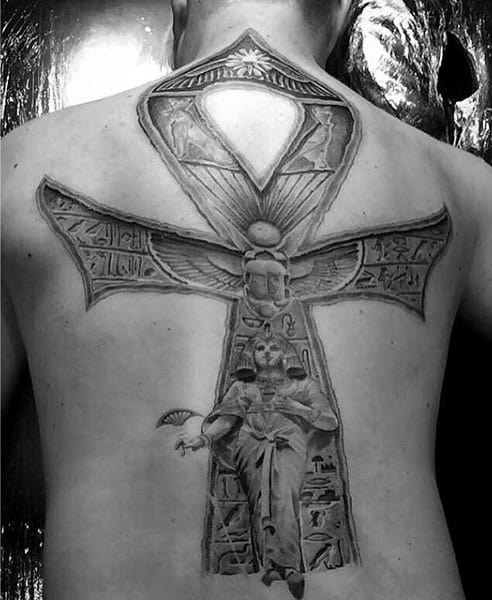 Full Back Ankh Male Tattoo Ideas