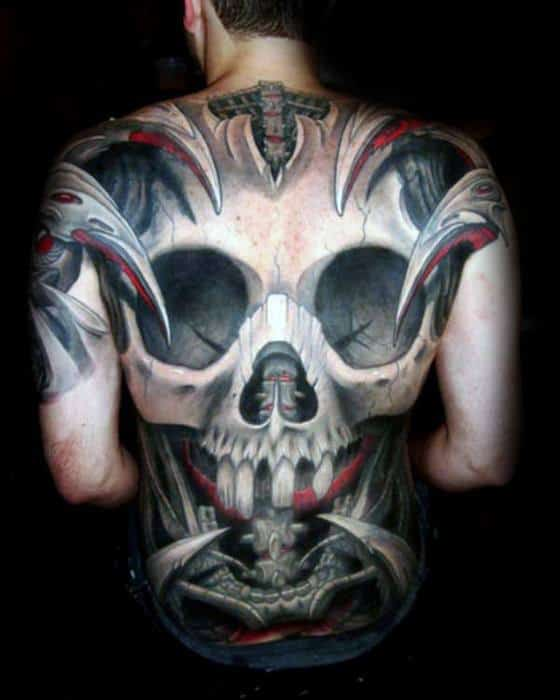Full Back Badass Skull Tattoo Design On Man