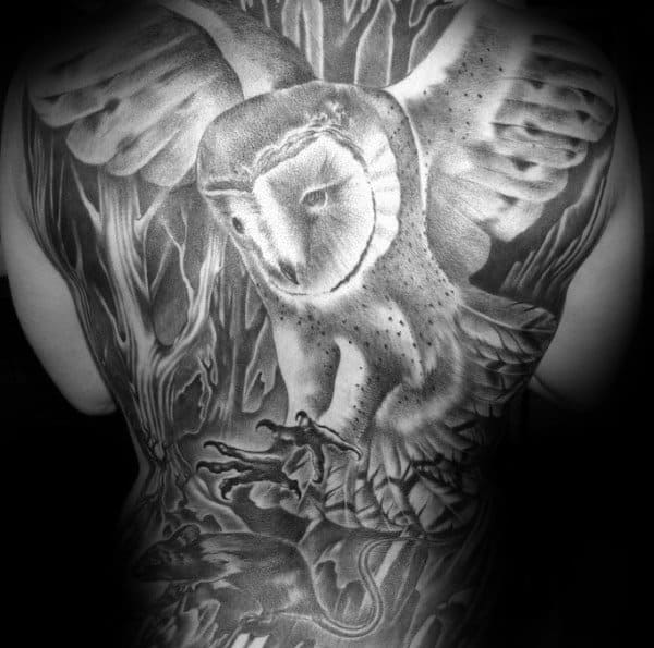 Full Back Barn Owl With Mouse Mens Tattoo Ideas