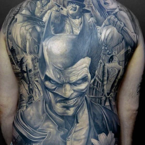 Full Back Batman Themed Mens Tattoo Ideas