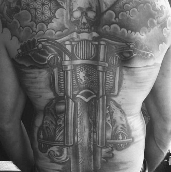 Full Back Biker Motorcycle Riding Tattoo For Guys