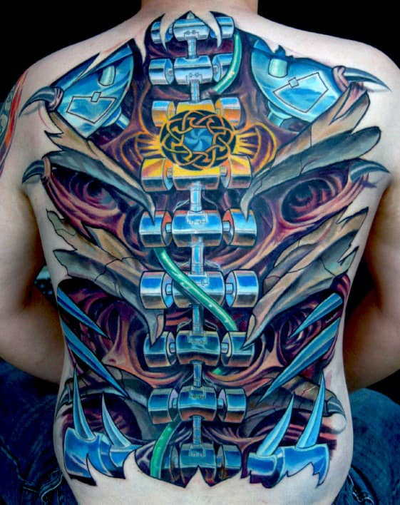 Full Back Biomechanical Spine Tattoo Optical Illusion Ink With 3d Effect