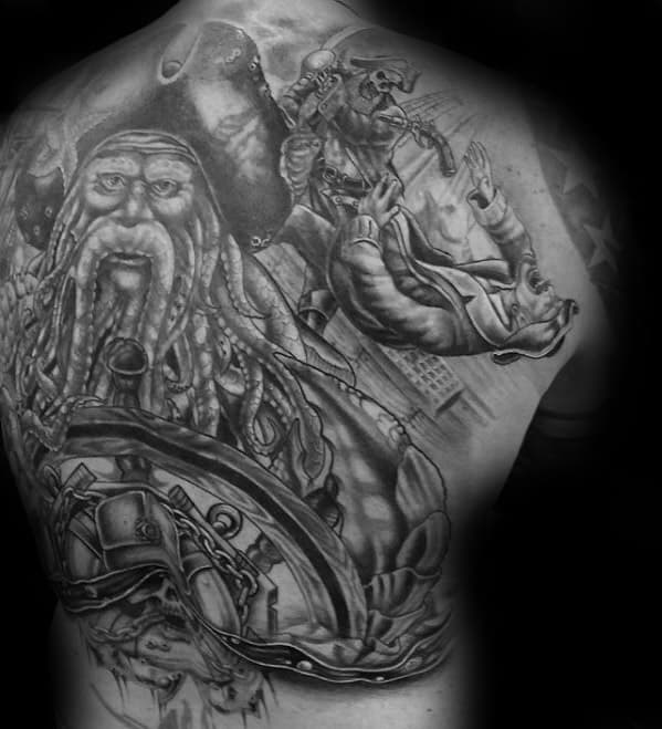 Full Back Black And Grey Davy Jones Themed Mens Tattoo Designs