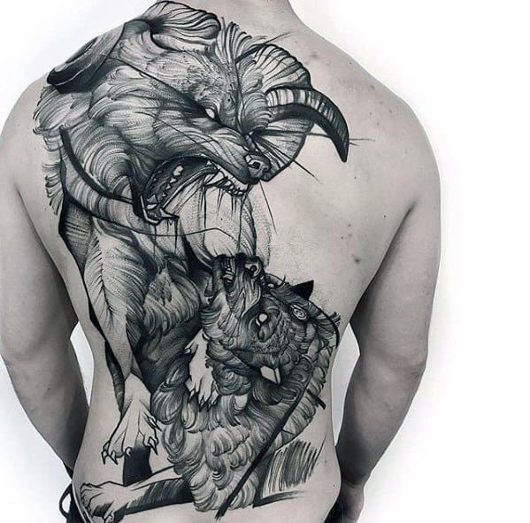 Full Back Black And Grey Guys Sketch Tattoo Designs