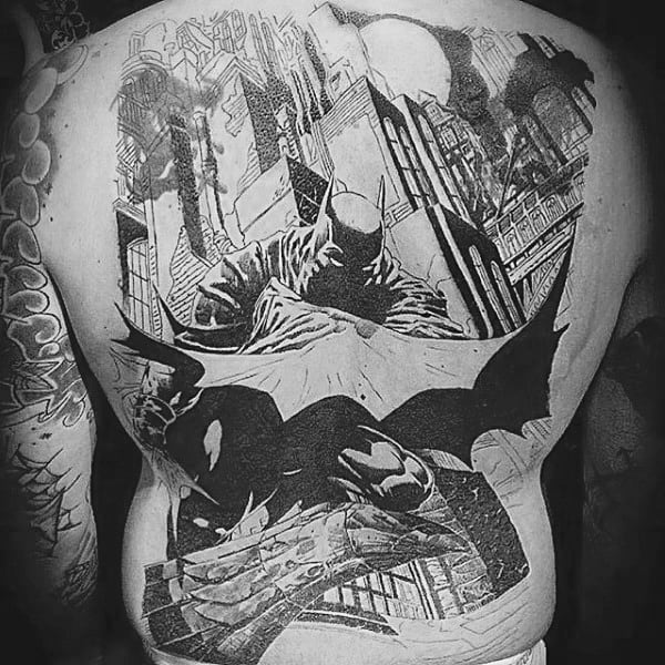 Full Back Black And Grey Ink Mens Batman Tattoos