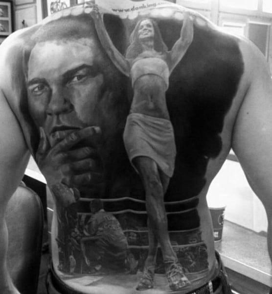Full Back Boxing Themed Portrait Guys Tattoos