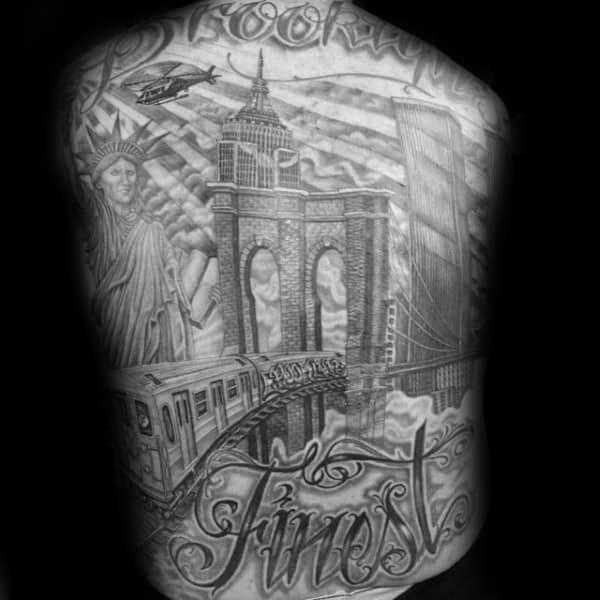 Full Back Brooklyn Bridge Shaded Tattoos For Men