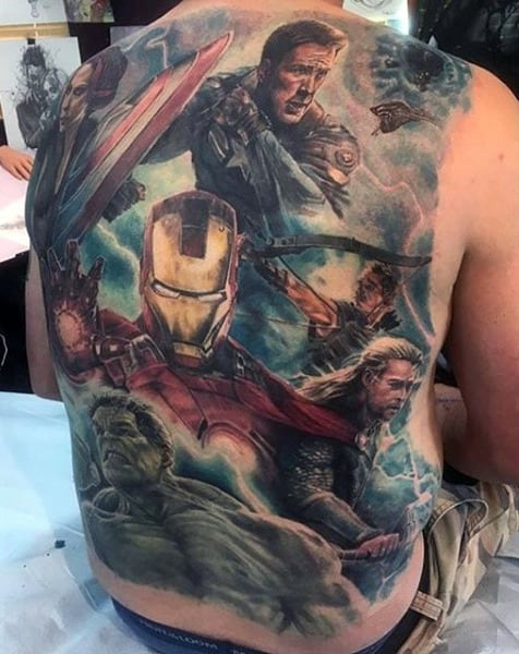 Full Back Captain America Marvel Themed Realistic Mens Tattoos