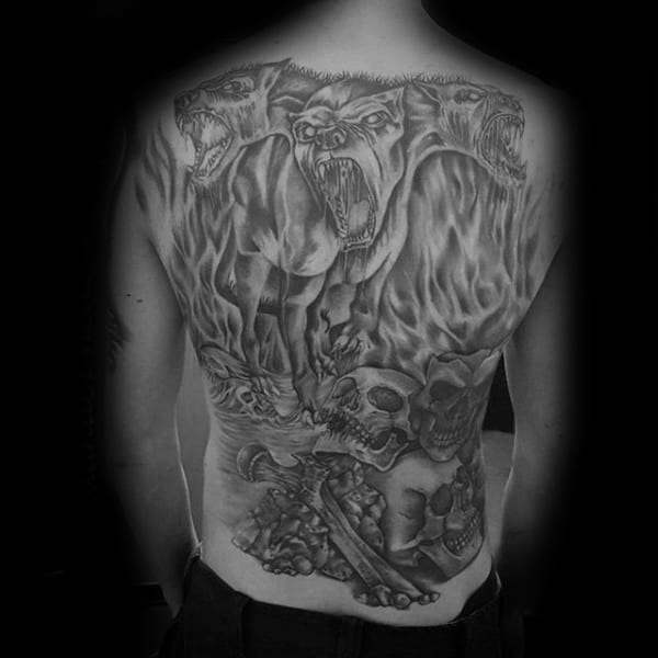 Full Back Cerberus Shaded Tattoos For Guys