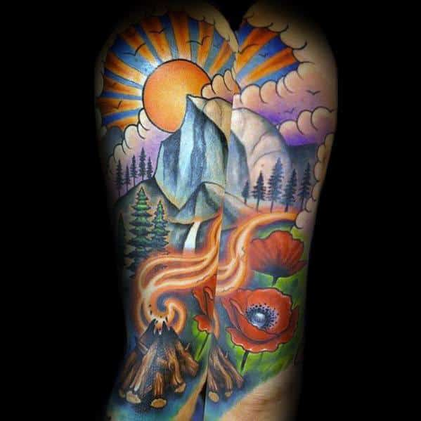 Full Back Colorful Camping Mens Tattoo Ideas