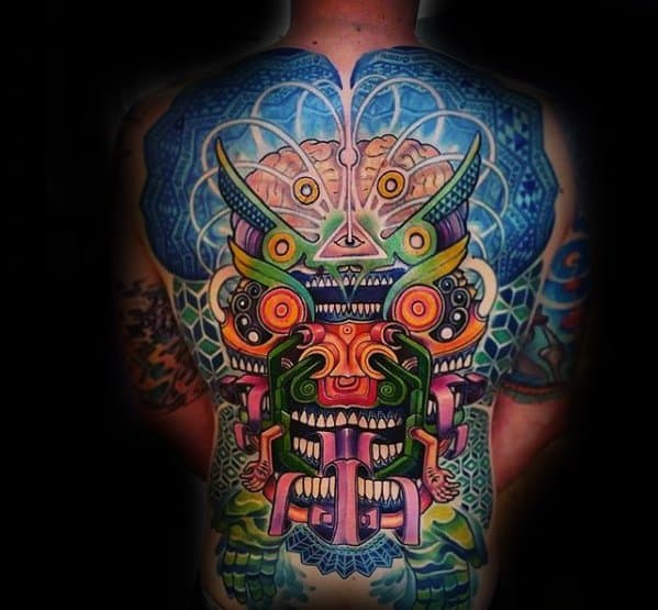 Full Back Colorful Mens Cool Consciousness Tattoo Ideas