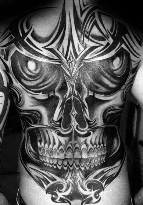 Full Back Cool Tribal Skull Tattoo Design Ideas For Male