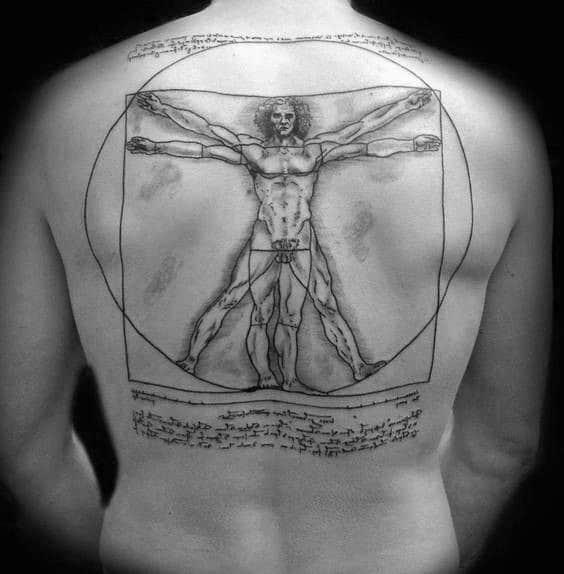 Full Back Cool Vitruvian Man Guys Tattoo Ideas