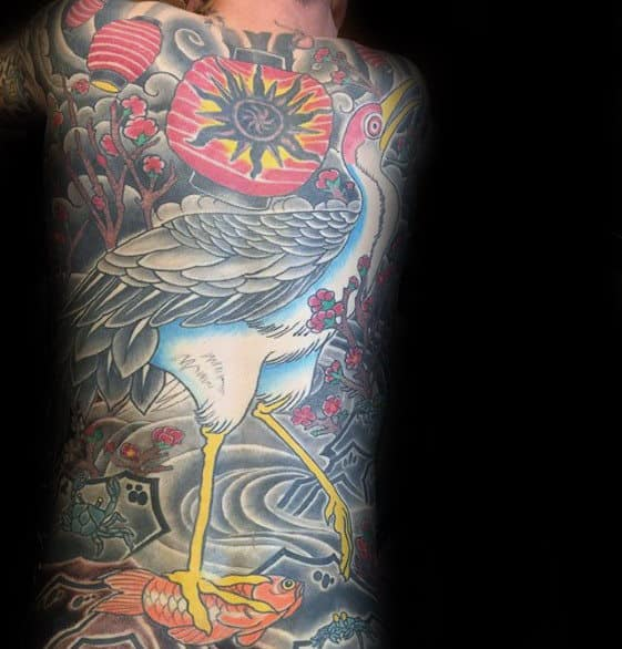 Full Back Crane Japanese Tattoo On Man
