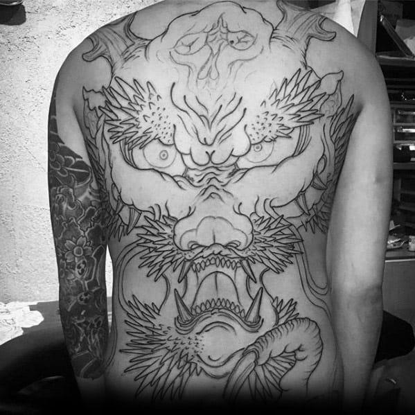 Full Back Creative Dragon Skull Tattoos For Men