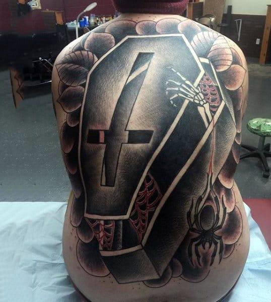 Full Back Cross Skeleton Coffin Mens Tattoo Design Inspiration Ideas