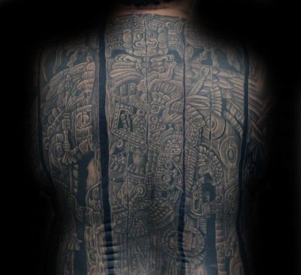 Full Back Dark Mayan Male Stone Back Tattoo Designs