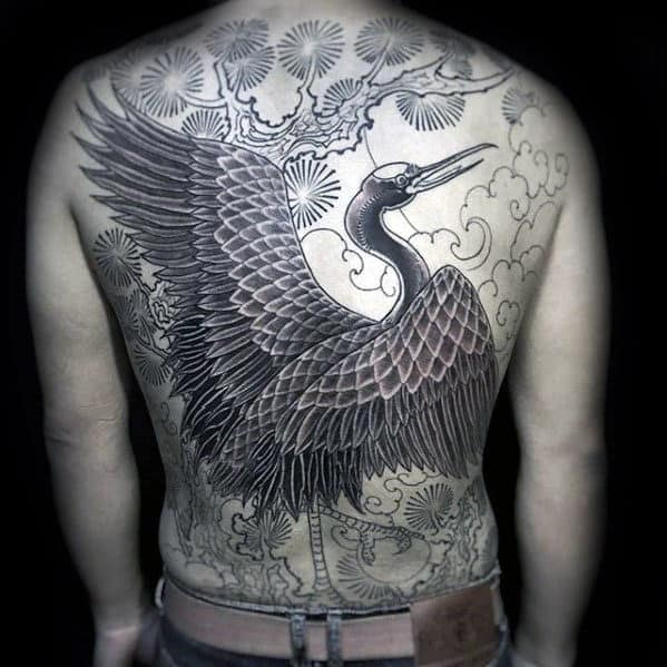 60 crane tattoo designs for men masculine bird ink ideas. Black Bedroom Furniture Sets. Home Design Ideas