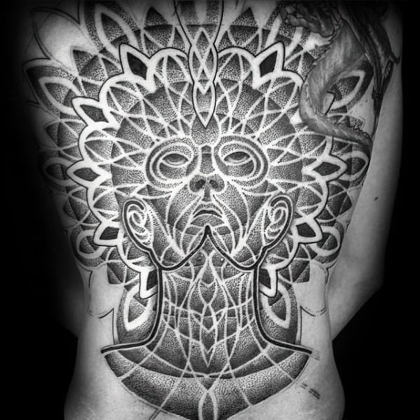 Full Back Dotwork Awesome Ink Consciousness Tattoos For Men
