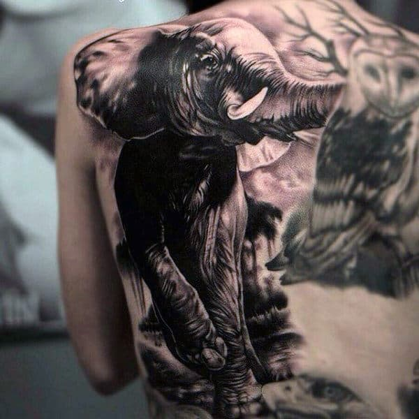 Full Back Elephant Animal Male Tattoos
