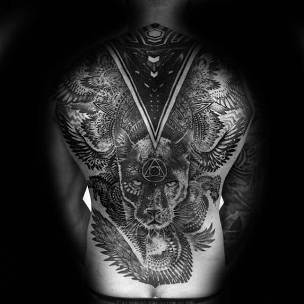 Full Back Factal Tattoo On Gentleman