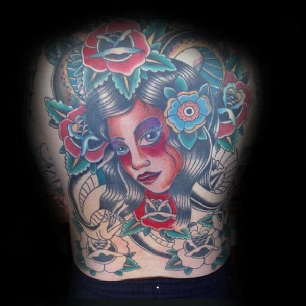 Full Back Female Portrait Male Traditional Rose Tattoo Designs