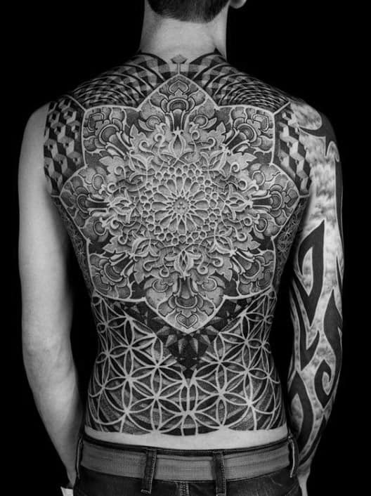 Full Back Flower Of Life Factal Mens Tattoo Design