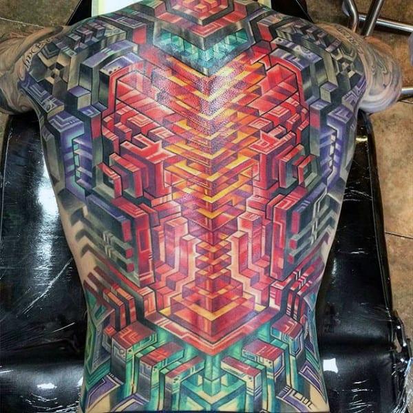 Full Back Geometric 3d Male Modern Tattoo Design Ideas