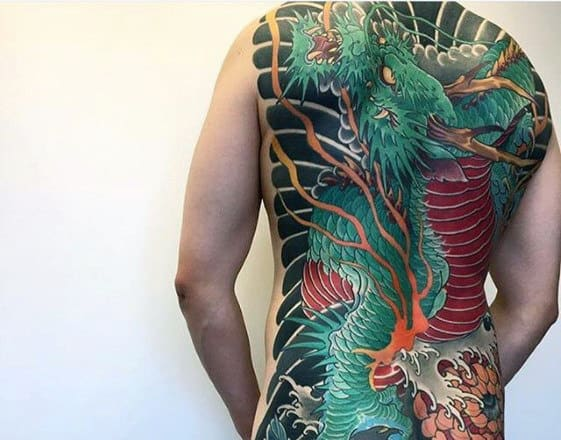 Full Back Green And Red Dragon Male Traditional Japanese Tattoos