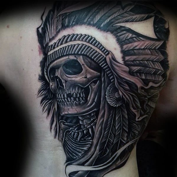 Full Back Guys Chief Indian Skull Tattoo Designs