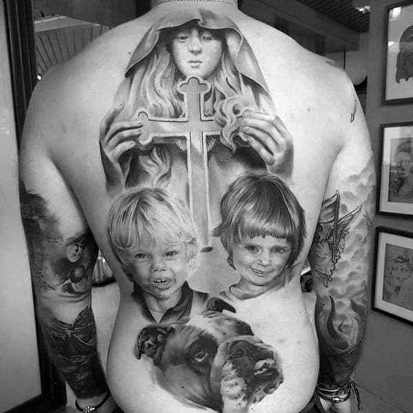 Full Back Guys Family Portrait Tattoo Design Ideas