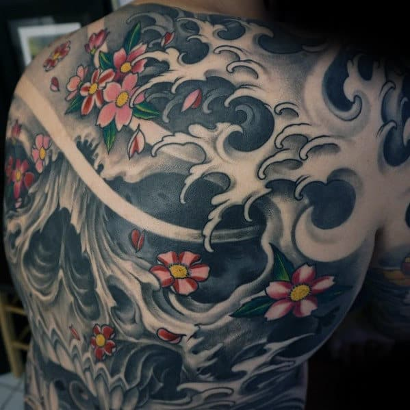 Full Back Guys Japanese Skull Water Waves Tattoo Design Ideas