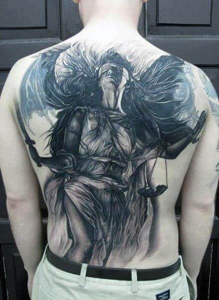 40 lady justice tattoo designs for men impartial scale ideas for Back mural tattoo designs