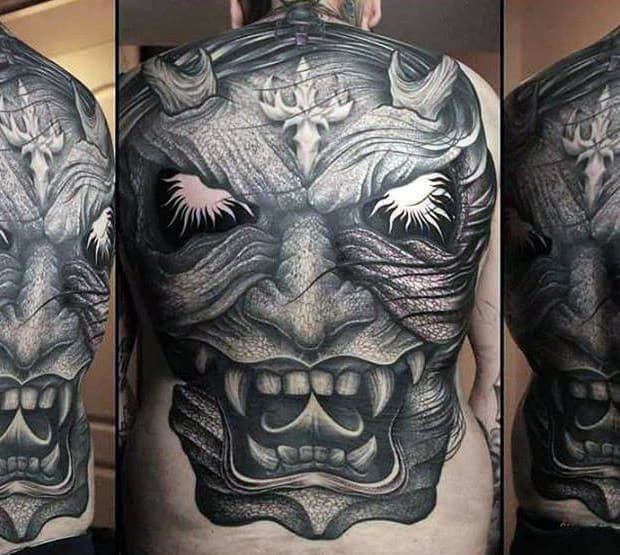 Full Back Guys Shaded Black And Grey Hannya Mask Tattoo